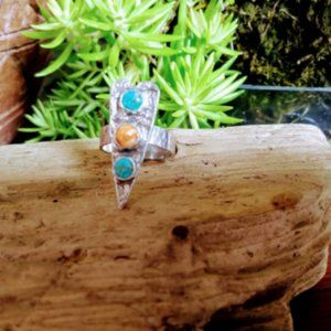 Sterling Silver , Turquoise and Spiny Oyster Heart